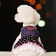 abordables Accesorios para Hogar y Mascotas-Perro Vestidos Ropa para Perro A Lunares Vaqueros Azul Algodón Disfraz Para mascotas Mujer Cosplay