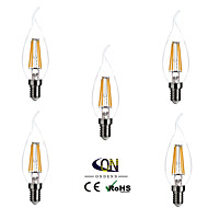 E14 levou lâmpadas de filamentos ca35 4 cob 400lm branco quente 2800-3200k dimmable ac 220-240v