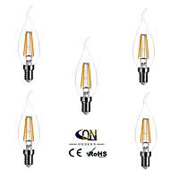 abordables Luces LED en Vela-ONDENN 5pcs 2800-3200 lm E14 Bombillas de Filamento LED CA35 4 leds COB Regulable Blanco Cálido AC 220-240V
