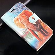 voordelige Galaxy Core 2-Voor Samsung Galaxy hoesje Kaarthouder / Portemonnee / met standaard / Flip hoesje Volledige behuizing hoesje Olifant PU-leer Samsung