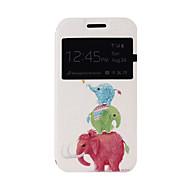 Для Кейс для  Samsung Galaxy со стендом / с окошком / Флип / С узором Кейс для Чехол Кейс для Слон Искусственная кожа Samsung J1
