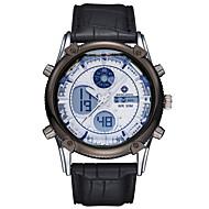 billige -ASJ Herre Armbåndsur Japansk Alarm / Kronograf / Vannavvisende Rustfritt stål / Lær Band Luksus Svart / Blå / Brun