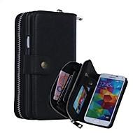 Для Кейс для  Samsung Galaxy Кошелек / Бумажник для карт / Магнитный Кейс для Чехол Кейс для Один цвет Натуральная кожа Samsung S5