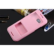 お買い得  携帯電話ケース-ケース 用途 HTC Desire 816 その他 HTC HTCケース スタンド付き ウィンドウ付き フリップ フルボディーケース 純色 ハード PUレザー のために HTC One M9 HTC One M8 HTC One M7