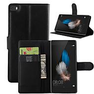 voordelige Telefoon hoesjes-litchi rond geopend beugel lederen telefoon portemonnee kaart geschikt voor Huawei p8 lite (assorti kleur)