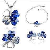 ieftine -Pentru femei Cristal Seturi de bijuterii femei Modă Cristal Ștras cercei Bijuterii Verde / Albastru / Bleumarin Pentru Petrecere Zilnic / Cercei / Coliere / Brățară