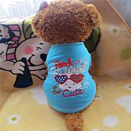 abordables -Gatos / Perros Camiseta Azul Verano Letra y Número / Caricaturas Moda