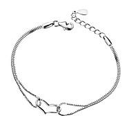 女性用 チェーン&リンクブレスレット 撚糸 ハート 幸福 安いです オリジナル 銀メッキ ブレスレットジュエリー シルバー 用途 結婚式 パーティー 記念日 誕生日 贈り物 日常