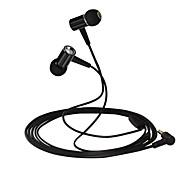 huast premium hörlurar med mikrofon stereohörlurar metall hörlurar för ipone / ipod / lg / Sony smartphone mp3 (bllack)