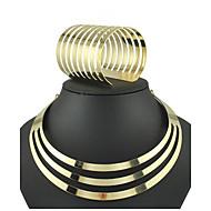 お買い得  -女性用 ジュエリーセット ブレスレット / ネックレス  -  カフ / ヴィンテージ / パーティー 円形 ゴールド ジュエリーセット 用途