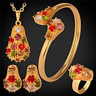 abordables U7-Mujer Conjunto de joyas - Brillante, Chapado en Plata, Chapado en Oro Incluir Dorado / Plata Para Boda Fiesta Diario / Anillos / Pendientes / Collare / Pulsera