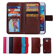 For Samsung Galaxy Case Card Holder / Wallet / Flip Case Full Body Case Solid Color PU Leather Samsung S6 edge / S6 / S5 / S4