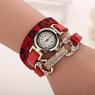 Damskie Modny Zegarek na bransoletce Kwarcowy Na codzień sztuczna Diament Skóra Pasmo CętkiCzarny Biały Niebieski Czerwony Brązowy Szary