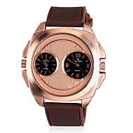 お買い得  -V6 男性用 軍用腕時計 2タイムゾーン シリコーン バンド ブラック / ブラウン