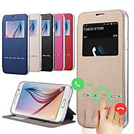Для Кейс для  Samsung Galaxy со стендом / с окошком Кейс для Чехол Кейс для Один цвет Искусственная кожа Samsung S6 edge plus / S6 edge