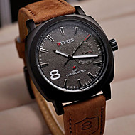 cheap Brand Watches-CURREN Men's Wrist Watch Casual Watch Leather Band Charm Brown
