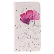 Для Кейс для  Samsung Galaxy Бумажник для карт / Кошелек / со стендом / Флип Кейс для Чехол Кейс для Цветы Искусственная кожа Samsung