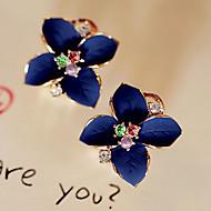 Недорогие Бижутерия-Жен. Серьги-гвоздики Серьги-слезки Мода Хрусталь Позолота Искусственный бриллиант Цветы Бижутерия Для вечеринок Повседневные Бижутерия