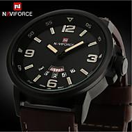 Недорогие Мужские часы-Муж. Наручные часы Кварцевый Календарь Защита от влаги Кожа Группа Кулоны Черный Серебристый металл Коричневый
