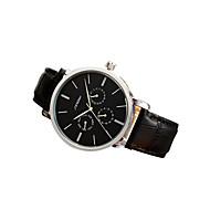 お買い得  -SINOBI 男性用 カジュアルウォッチ レザー バンド 腕時計 ブラック