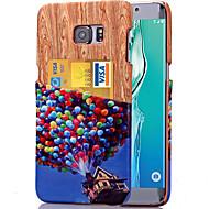 Для Кейс для  Samsung Galaxy Бумажник для карт Кейс для Задняя крышка Кейс для Имитация дерева Искусственная кожа SamsungS6 edge plus /