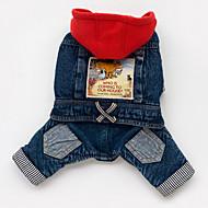billige Kæledyr Udstyr-Hund Hættetrøjer Denimjakker Hundetøj Cowboy Jeans Blå Kostume For kæledyr