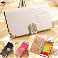 Недорогие Чехлы и кейсы для Galaxy Note-Кейс для Назначение SSamsung Galaxy Samsung Galaxy Note7 Бумажник для карт Кошелек Стразы со стендом Флип Чехол Сплошной цвет Кожа PU для
