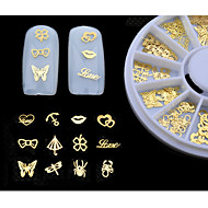 cheap Nail Art-New 3d Gold Metal Nail Art Sticker Decoration Wheel Butterfly Lips Design Tiny Slice DIY Nail Accessories