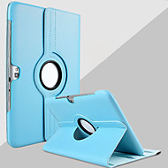 Para Samsung Galaxy Note Com Suporte / Rotação 360° Capinha Corpo Inteiro Capinha Cor Única Couro PU Samsung Note 10.1