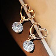 בגדי ריקוד נשים קריסטל עגילים צמודים - קריסטל לב תכשיטים מוזהב עבור חתונה Party יומי קזו'אל