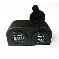 halpa -lossmann vedenkestävä kaksinkertainen usb auton laturi adapteri ja digitaalisen volttimittarin