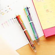 Transparent 6-Color Ballpoint Pen(1 PCS)