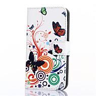 Для Кейс для  Samsung Galaxy Бумажник для карт / Кошелек / со стендом / Флип / С узором Кейс для Чехол Кейс для Бабочка Искусственная кожа