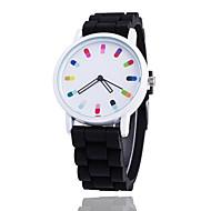 Недорогие Женские часы-Жен. Наручные часы Модные часы Кварцевый / Повседневные часы силиконовый Группа На каждый день Cool Черный Белый