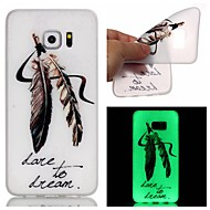 For Samsung Galaxy Case Glow in the Dark Case Back Cover Case Feathers TPU Samsung S7