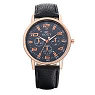 Недорогие Мужские часы-Муж. Нарядные часы Модные часы Кварцевый / Повседневные часы Кожа Группа Винтаж На каждый день Черный Белый Коричневый