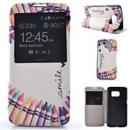 Для Samsung Galaxy S7 Edge со стендом / с окошком / Флип Кейс для Чехол Кейс для Мультяшная тематика Искусственная кожа SamsungS7 plus /