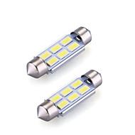 2xfestoon 6x5630smd 6000K hvidt lys LED pære til bil (DC 12V, 36mm)