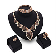 cheap Jewelry & Watches-Jewelry Set - Cubic Zirconia, Rose Gold Plated Leaf Statement, Cuff, Vintage Include Rose Gold For Party Special Occasion Anniversary / Earrings / Necklace