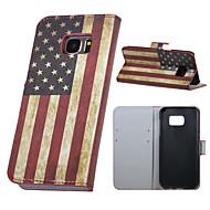 Kompatibilitás Samsung Galaxy S7 Edge tokok Pénztárca Kártyatartó Állvánnyal Flip Teljes védelem Case Zászló Műbőr Bőr mert SamsungS7
