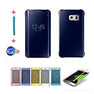 voordelige Galaxy S6 Edge Plus Hoesjes / covers-hoesje Voor Samsung Galaxy Automatisch aan / uit Beplating Spiegel Flip Volledig hoesje Effen Kleur Hard PC voor S6 edge plus S6 edge S6