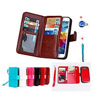 Недорогие Чехлы и кейсы для Galaxy Core Prime-Кейс для Назначение SSamsung Galaxy Бумажник для карт Кошелек со стендом Флип Магнитный Чехол Сплошной цвет Твердый Кожа PU для Grand