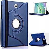 Недорогие Чехлы и кейсы для Samsung Tab-Для Кейс для  Samsung Galaxy со стендом / Флип / Поворот на 360° Кейс для Чехол Кейс для Один цвет Искусственная кожа Samsung Tab S2 8.0