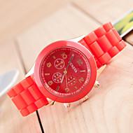 Dames Modieus horloge Kwarts Silicone Band Vrijetijdsschoenen Zwart Wit Rood Orange Bruin Groen Roze Paars Geel Beige Marineblauw roze