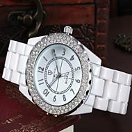 tanie Modne zegarki-Damskie Modny Sztuczny Diamant Zegarek Kwarcowy sztuczna Diament Tkanina Pasmo Biały Silver Golden
