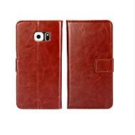 billige Mobilcovers-For Samsung Galaxy S7 Edge Kortholder / Pung / Med stativ / Flip Etui Heldækkende Etui Helfarve Kunstlæder SamsungS7 edge plus / S7 edge