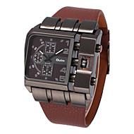 저렴한 -Oulm 남성용 밀리터리 시계 손목 시계 석영 큰 다이얼 가죽 밴드 멋진 블랙 블루 레드 브라운