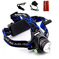 LS1791 Headlamps LED 2000 Lumens 3 Mode Cree XM-L T6 2 x 18650 Batteries Adjustable Focus Impact Resistant Rechargeable Waterproof Strike