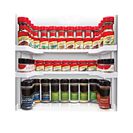White Compartment Spicy Shelf Spice Rack And Stackable Organizer
