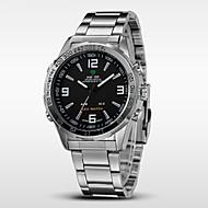 Недорогие Фирменные часы-WEIDE Муж. Наручные часы Будильник / Календарь / Секундомер Нержавеющая сталь Группа Черный / Серебристый металл / Защита от влаги / LED / С двумя часовыми поясами